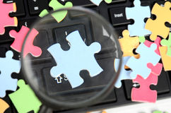 Keyboard and magnifier with puzzle Royalty Free Stock Image
