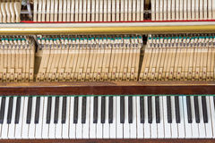 Keyboard and mechanics of an upright piano Stock Image
