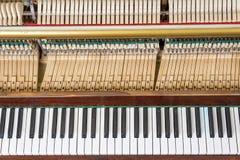 Keyboard and mechanics of an upright piano. Keyboard and mechanics details of an upright piano Stock Image