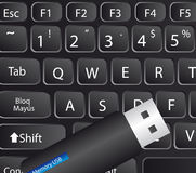 Keyboard and memory usb Royalty Free Stock Photo