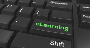 Keyboard message eLearning. Keyboard focused on eLearning online Royalty Free Stock Image