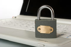 Keyboard with metal padlock Royalty Free Stock Images