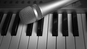 Keyboard and  microphone Royalty Free Stock Images