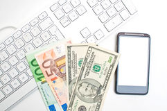 Keyboard and money Stock Image