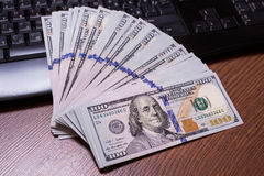 Keyboard and money Royalty Free Stock Photo