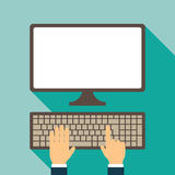Keyboard and monitor illustration Royalty Free Stock Photography