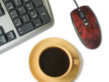 Keyboard, mouse, coffee cup. Isolated on white Stock Photography
