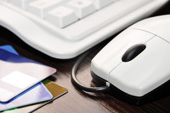 Keyboard, mouse, credit card Stock Photos