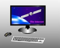 Keyboard, mouse and monitor with a starry sky, earth and communication satellite. royalty free illustration