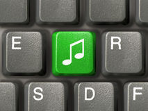 Keyboard with music key Stock Photo