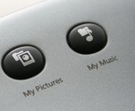 Keyboard music and pictures icons Stock Images