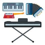 Keyboard musical instruments classical musician piano equipment vector illustration. Keyboard musical instruments classical melody studio acoustic shiny musician stock illustration