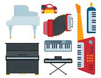 Keyboard musical instruments isolated classical musician piano equipment vector illustration Stock Photography