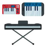 Keyboard musical instruments isolated classical musician piano equipment vector illustration. Keyboard musical instruments isolated classical melody studio royalty free illustration