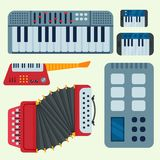 Keyboard musical vector instruments isolated classical melody studio acoustic shiny musician equipment and orchestra. Keyboard musical instruments isolated stock illustration