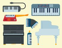 Keyboard musical vector instruments isolated classical melody studio acoustic shiny musician equipment and orchestra. Keyboard musical instruments isolated royalty free illustration