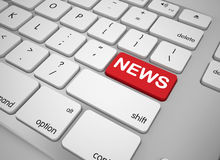 Keyboard news button. 3d high quality render Stock Images