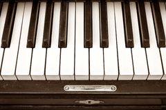 Keyboard of old black piano Royalty Free Stock Photography