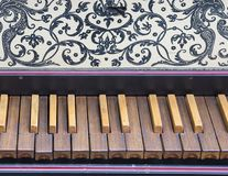 Keyboard of old harpsichord with brown keys Stock Images