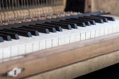 Keyboard of old piano. Stock Photo