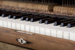Keyboard of old piano. Royalty Free Stock Image