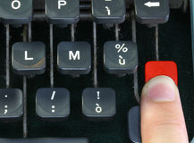 Keyboard of the old typewriter with a finger Stock Photo