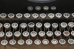 Keyboard of old vintage typewriter close up Stock Images