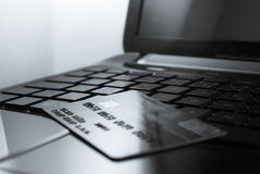 Keyboard. Open black laptop and credit card on keyboard stock photography