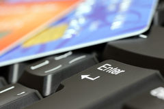 Keyboard and payment cards. Royalty Free Stock Images