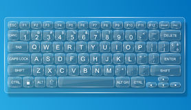 Keyboard pc mac glas whit shadow Royalty Free Stock Photography
