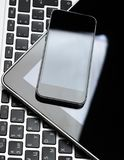 Keyboard with phone. And tablet pc stock photos
