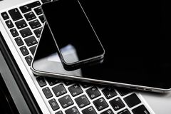 Keyboard with phone. And tablet pc royalty free stock photo