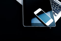 Keyboard with phone and tablet pc Stock Photo