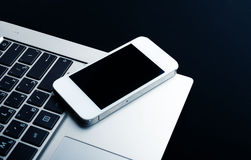 Keyboard with phone and tablet pc Royalty Free Stock Image