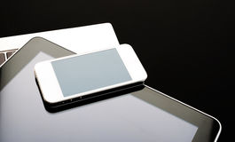 Keyboard with phone and tablet pc Royalty Free Stock Images