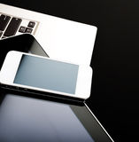 Keyboard with phone and tablet pc Stock Image