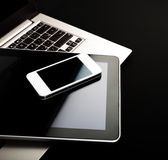 Keyboard with phone and tablet pc Stock Photos