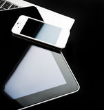Keyboard with phone and tablet pc Royalty Free Stock Photography