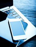 Keyboard with phone and tablet pc Stock Photography