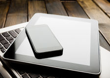 Keyboard with phone and tablet pc Royalty Free Stock Photo