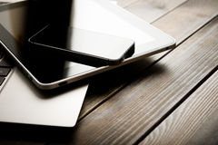 Keyboard with phone and tablet pc Royalty Free Stock Photos