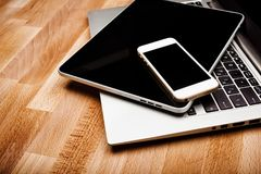 Keyboard with phone and tablet pc Stock Images