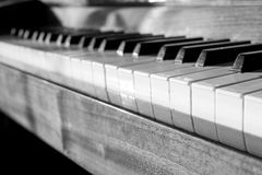 Keyboard of the Piano. Close-up Black and White  image Royalty Free Stock Photos