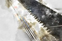 Keyboard of the piano foreground Watercolor painting stock illustration