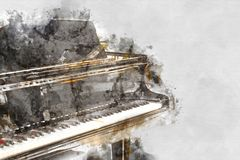 Keyboard of the piano foreground Watercolor painting vector illustration