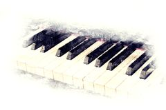 Keyboard of the piano foreground Watercolor painting. Abstract beautiful keyboard of the piano foreground Watercolor painting background and Digital illustration royalty free illustration