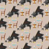 Keyboard piano musical instrument classical musician equipment seamless pattern background vector illustration. Keyboard piano musical instrument classical stock illustration