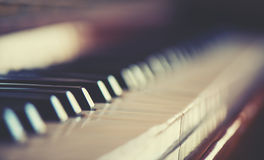 Keyboard piano. The old keyboard piano color royalty free stock photos