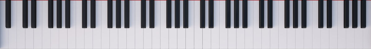 Keyboard piano top view Royalty Free Stock Images