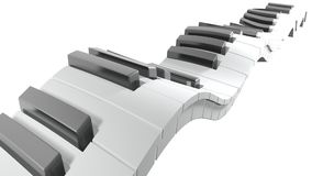 Keyboard of a piano waving on white background - 3D rendering